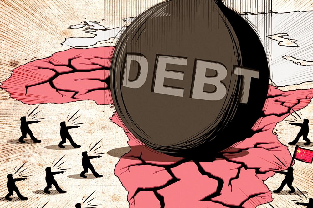 Tranh biếm họa nợ châu Phi - Ảnh: SCMP