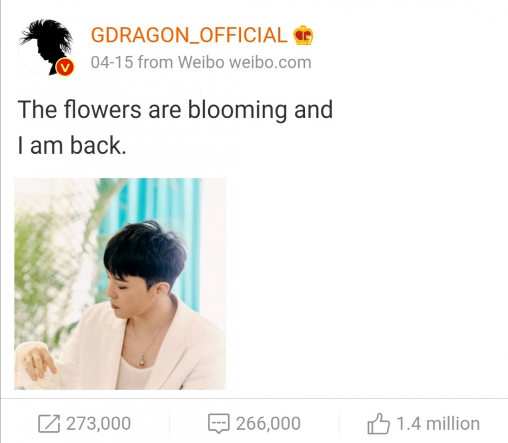 1,4 triệu lượt thích cho bài đăng của G-Draon trên tài hoản Weibo.
