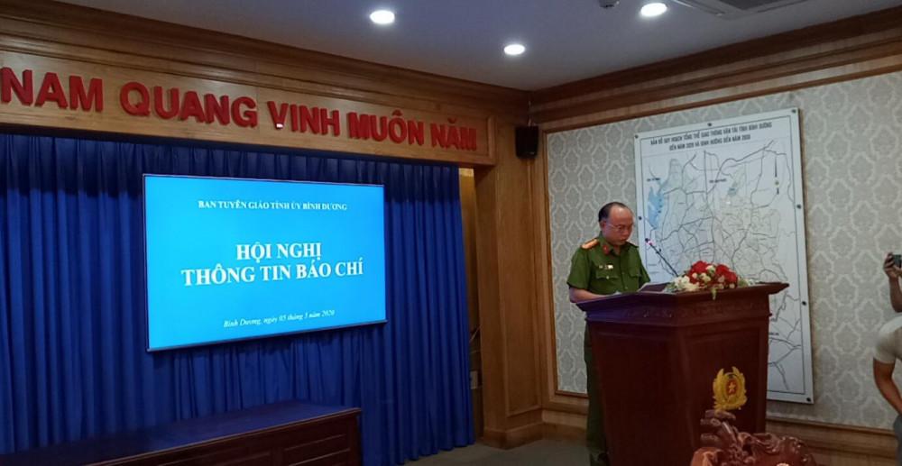 Đại tá Trần Văn Chính - Phó Giám đốc- Thủ trưởng Cơ quan cảnh sát điều tra công an tỉnh Bình Dương phát biểu