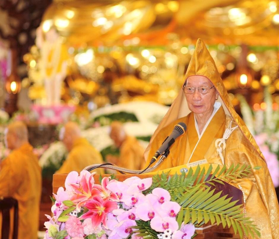 Hòa thượng Thích Trí Quảng đã tuyên đọc Thông điệp Phật đản Phật lịch 2564 của Trưởng lão Hòa thượng Thích Phổ Tuệ