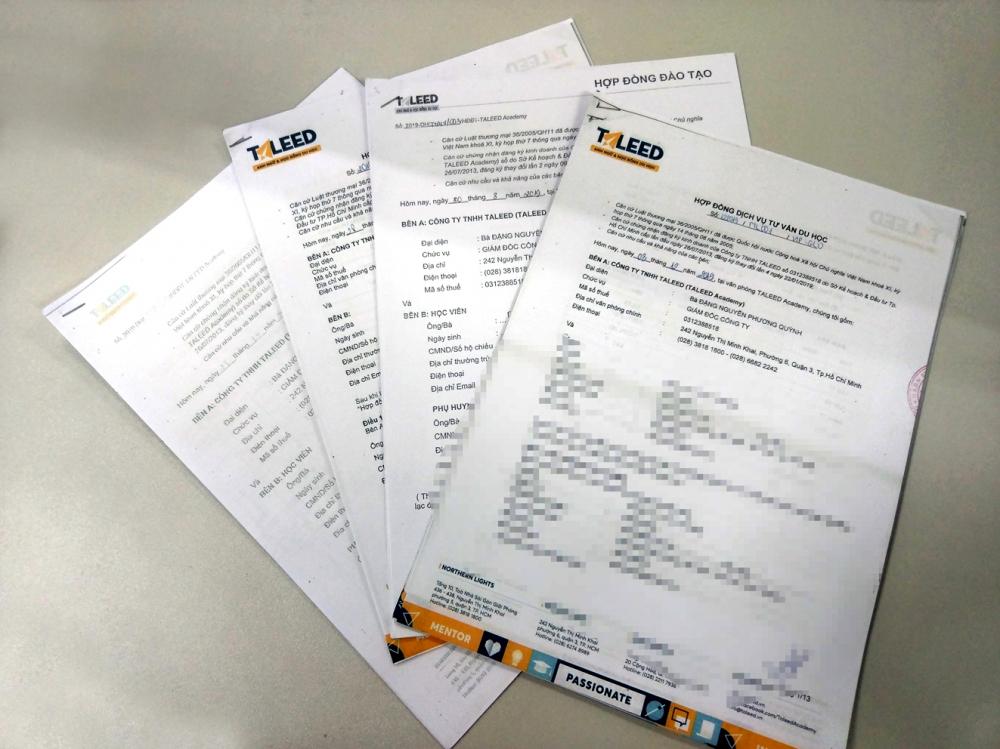 Hợp đồng đào tạo và hợp đồng tư vấn du học mà Công ty TALEED ký với học viên có giá trị hàng trăm triệu đồng