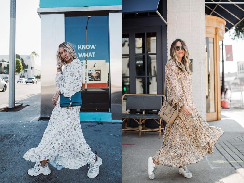 Đầm maxi và giày thể thao không phải là cách mix phổ biến của nhiều quý cô. Thế nhưng phong cách này giúp bạn gái trở nên năng động hơn mà cũng không kém phần quyến rũ.