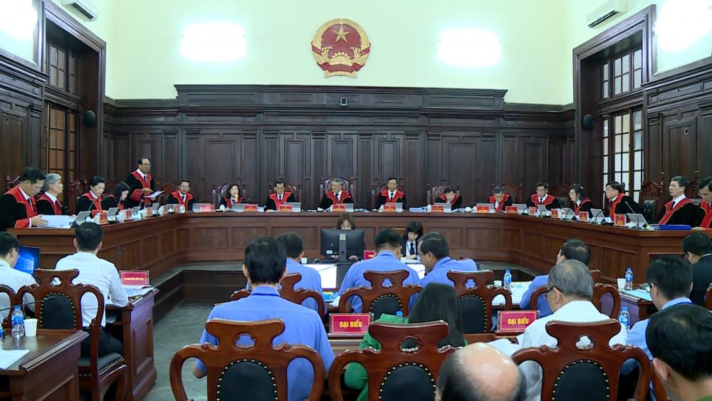 Toàn cảnh phiên xét xử chiều nay (Ảnh: Báo Công lý).
