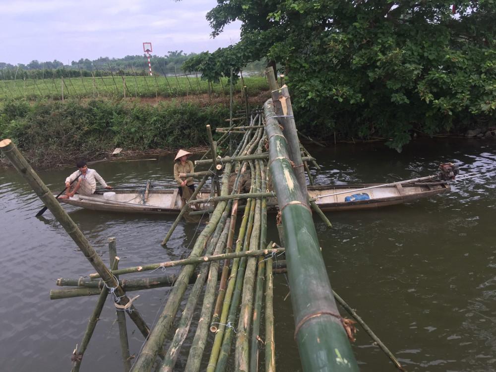 Cầu tre nối từ thôn Thanh Lương 2 sang khi cực cầu Nổi
