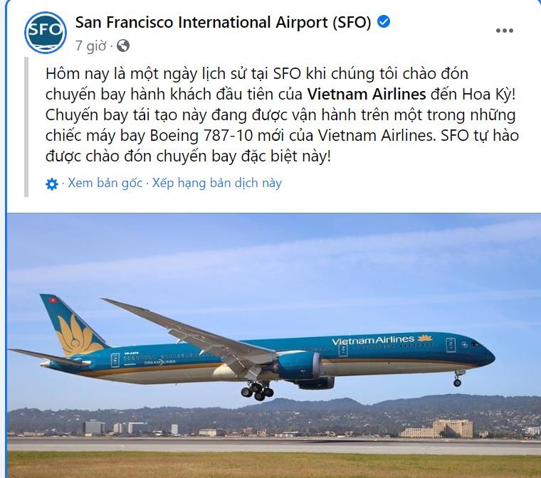 Chuyến bay đón công dân Việt Nam cũng được đăng tải trên trang mạng xã hội của sân bay quốc tế San Francisco.