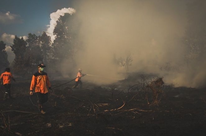 Lực lượng chức năng cố gắng dập tắt một vụ cháy rừng ở Indonesia.