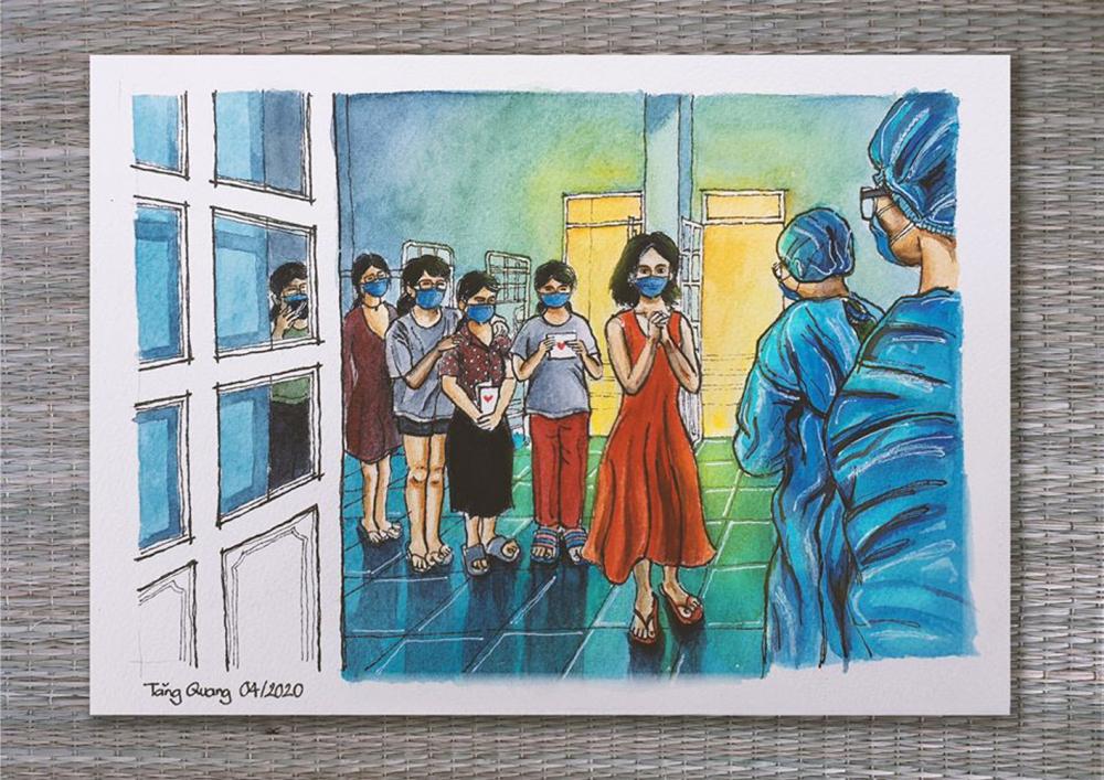 Một tác phẩm ký họa của Quang được in trong sách Cùng nhau gửi lời cảm ơn đến các y bác sĩ