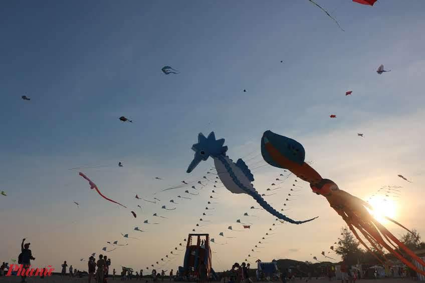 Những cánh diều no gió trên bãi biển Phan Thiết.