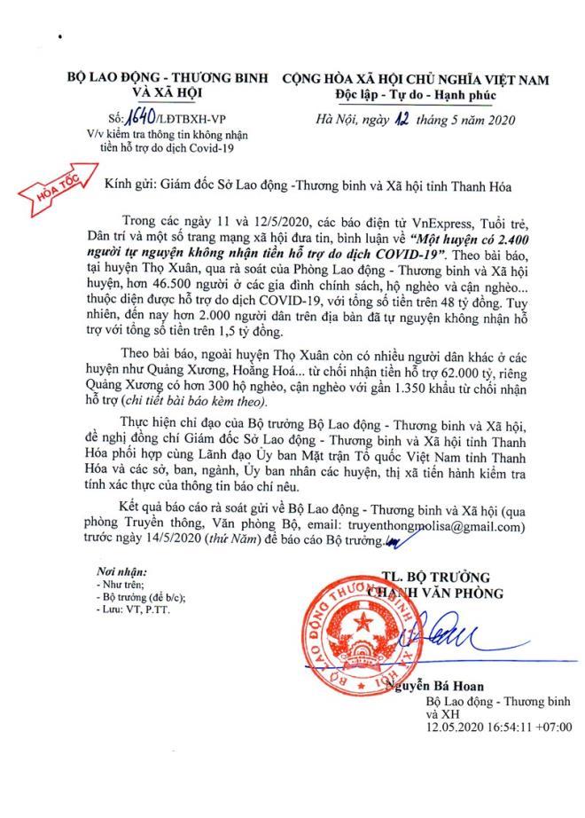 Bộ Lao động Thương binh và Xã hội có Công văn đề nghị Thanh Hóa, kiểm tra thông tin người dân không nhận tiền hỗ trợ do dịch COVID-19.