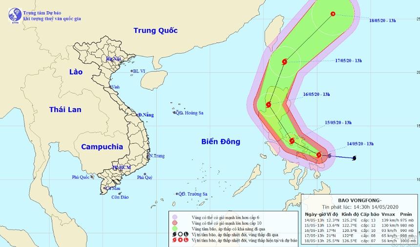 Vị trí và hướng di chuyển của bão Vongfong
