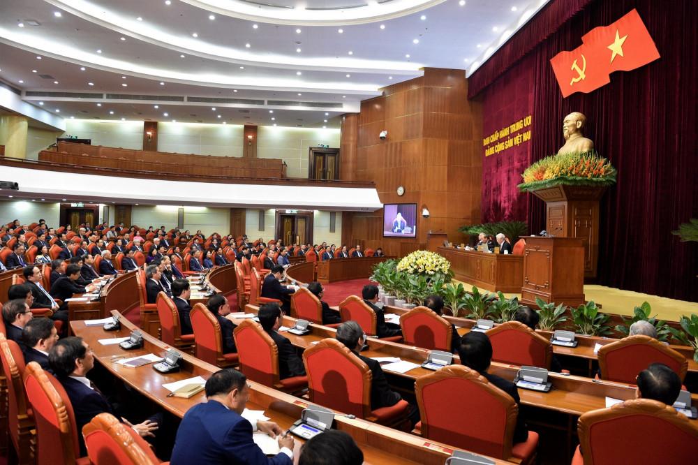 Toàn cảnh phiên bế mạc Hội nghị lần thứ 12 Ban chấp hành Trung ương Đảng
