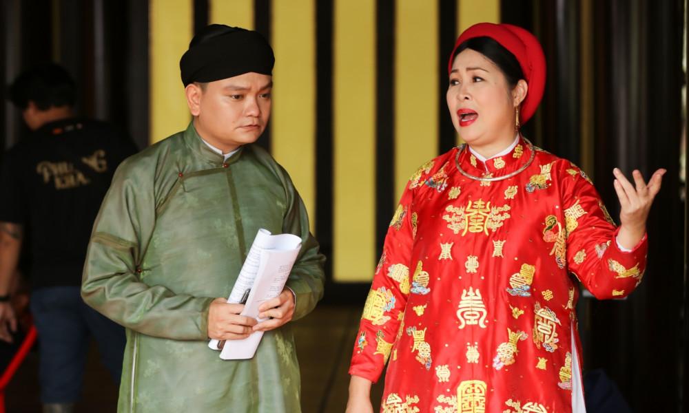 NSND Hồng Vân và diễn viên Trịnh Tú Trung đóng vai mẹ con trên phim.
