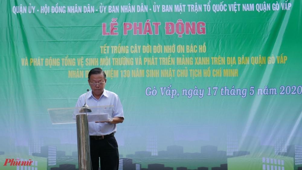 Ông Nguyễn Hữu Hiệp, Trưởng Ban Dân vận Thành ủy TPHCM phát động tại Lễ trồng cây, quận Gò Vấp