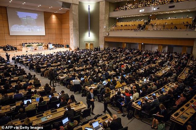 Quang cảnh cuộc họp của Hội đồng Y tế Thế giới năm 2019.