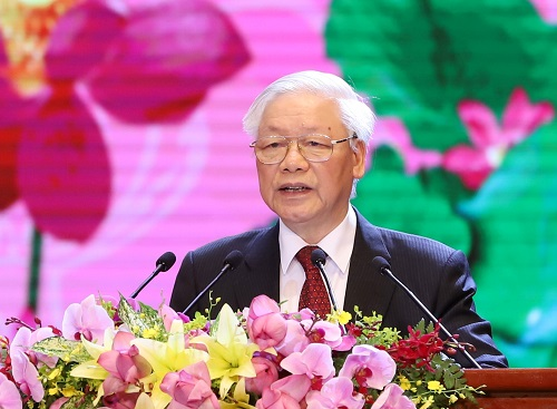Tổng Bí thư, Chủ tịch nước Nguyễn Phú Trọng phát biểu tại Lễ Kỷ niệm. Ảnh VGP/Nhật Bắc