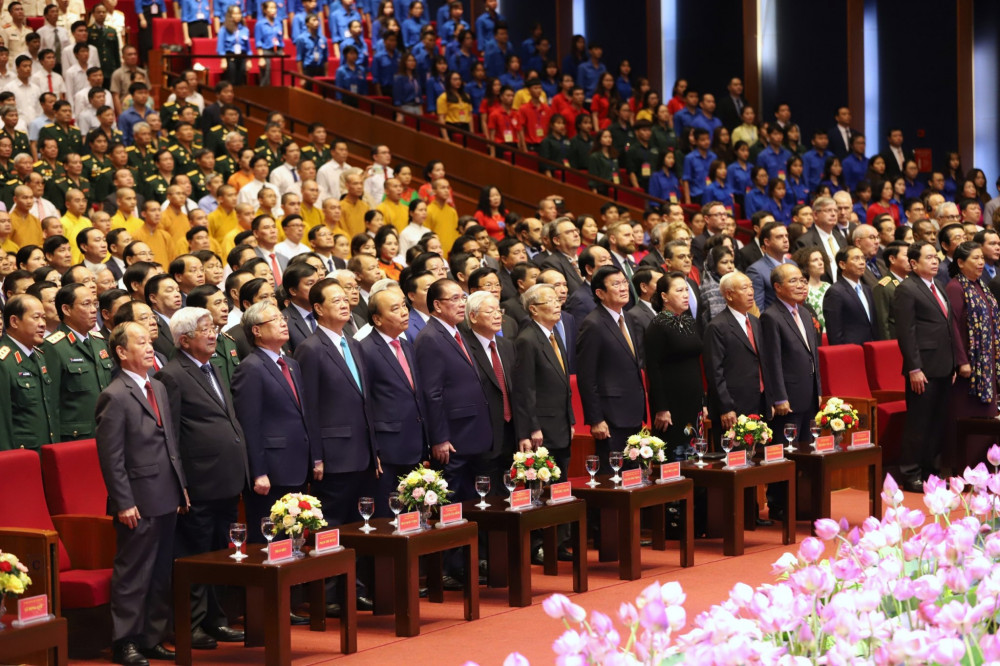Lãnh đạo Đảng, Nhà nước và các vị đại biểu dự Lễ Kỷ niệm. Ảnh VGP/Nhật Bắc