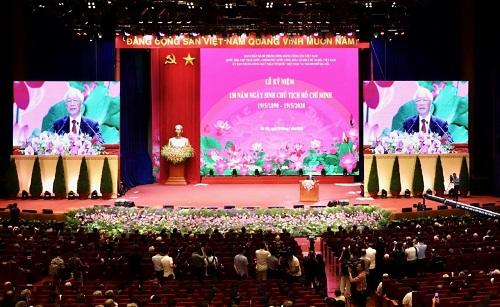 Lễ Kỷ niệm 130 năm Ngày sinh Chủ tịch Hồ Chí Minh. Ảnh VGP/Nhật Bắc