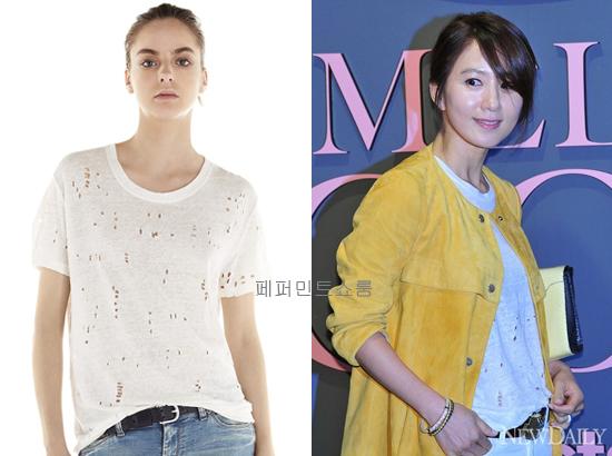 Kim Hee Ae luôn chú trọng chọn lựa chất liệu cho trang phục sao cho bản thân cảm thấy thoải mái nhất. Cô thường ưa tiên chọn những vải thun lạnh (chất liệu thoáng mát, thấm hút mồ hôi khá tốt) và co dãn với những gam màu trung tính hoặc tông trầm, toát lên nét trưởng thành mà không kém phần cá tính. Càng lớn tuổi, phụ nữ sẽ càng mắc phải nhiều khuyết điểm trên cơ thể, nhất là ở vùng bụng và vùng vai lưng dễ tích tụ mỡ thừa khiến chị em mất tự tin khi diện cách mẫu áo thun bó sát cho nên việc chọn các mẫu thiết kế vừa vặn cơ thể là ưu tiên hàng đầu.