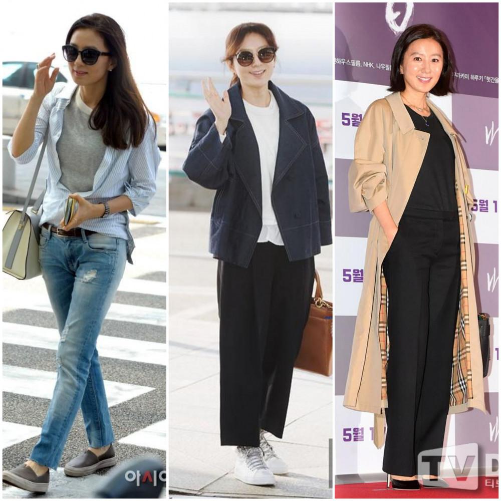 Kim Hee Ae yêu thích các loại áo thun trơn, ít họa tiết. Khác với các bạn trẻ thường kết hợp mẫu áo này với quần baggy, short jeans, nữ minh tinh ưa chuộng phối cùng quần jean dài ôm dáng hoặc quần tây nữ suông dài. Outfit này phải lòng khá nhiều quý cô trung niên, tăng phần quyễn rũ và dịu dàng. Đặc biệt, phái đẹp nên chú ý kết hợp với giày cao gót giúp người thanh thoát hơn hoặc đôi giày bata sành điệu và trẻ trung. Đồng thời chú ý