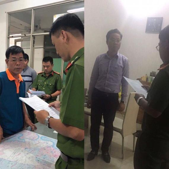 Cựu thẩm phán Nguyễn Hải Nam và cựu giảng viên Lâm Hoàng Tùng lúc công an đọc lệnh khởi tố bắt giữ.