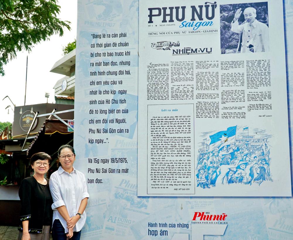 Nguyên Tổng biên tập Nguyễn Thế Thanh và Tổng biên tập Lê Huyền Ái Mỹ trước số báo đầu tiên của Báo Phụ Nữ TP.HCM sau 45 năm tròn