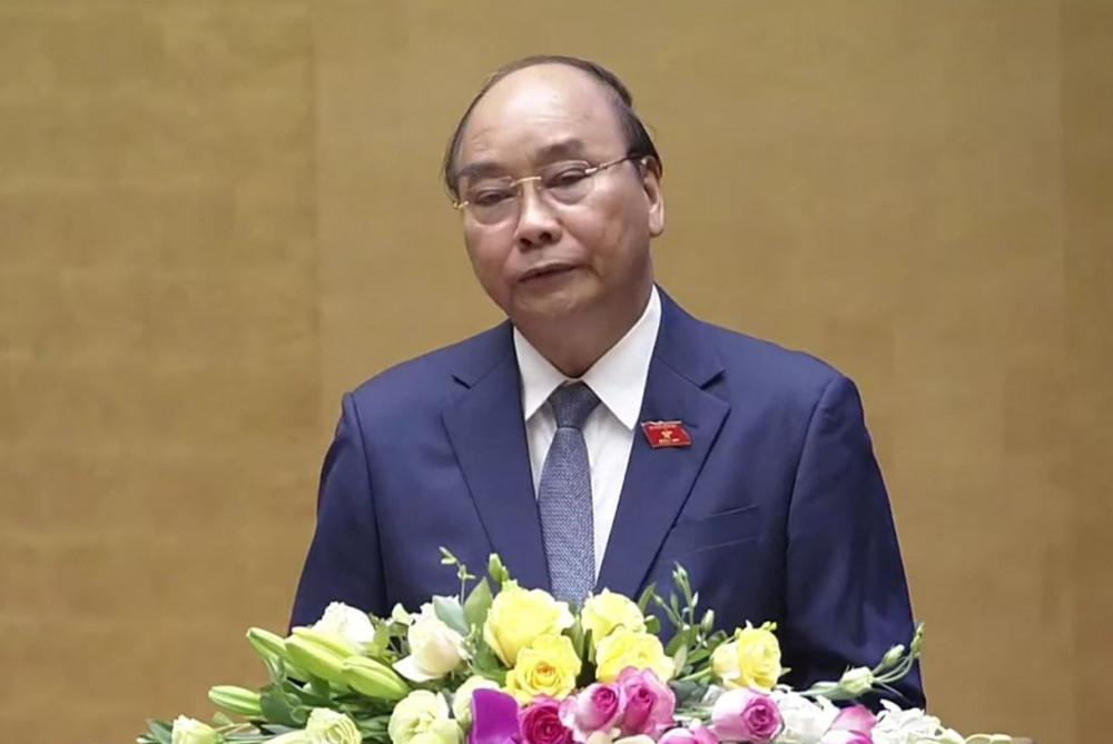 Thủ tướng Nguyễn Xuân Phúc báo cáo tại Quốc hội sáng 20/5