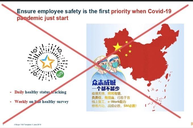 Hình ảnh bản đồ được cho là nằm trong tập tài liệu mà Công ty Bayer gửi cho nhân viên
