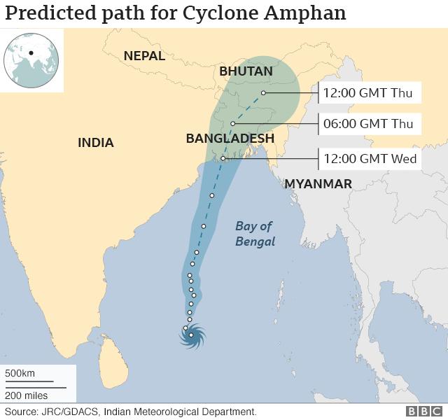 Đường đi dự kiến của bão Amphan.