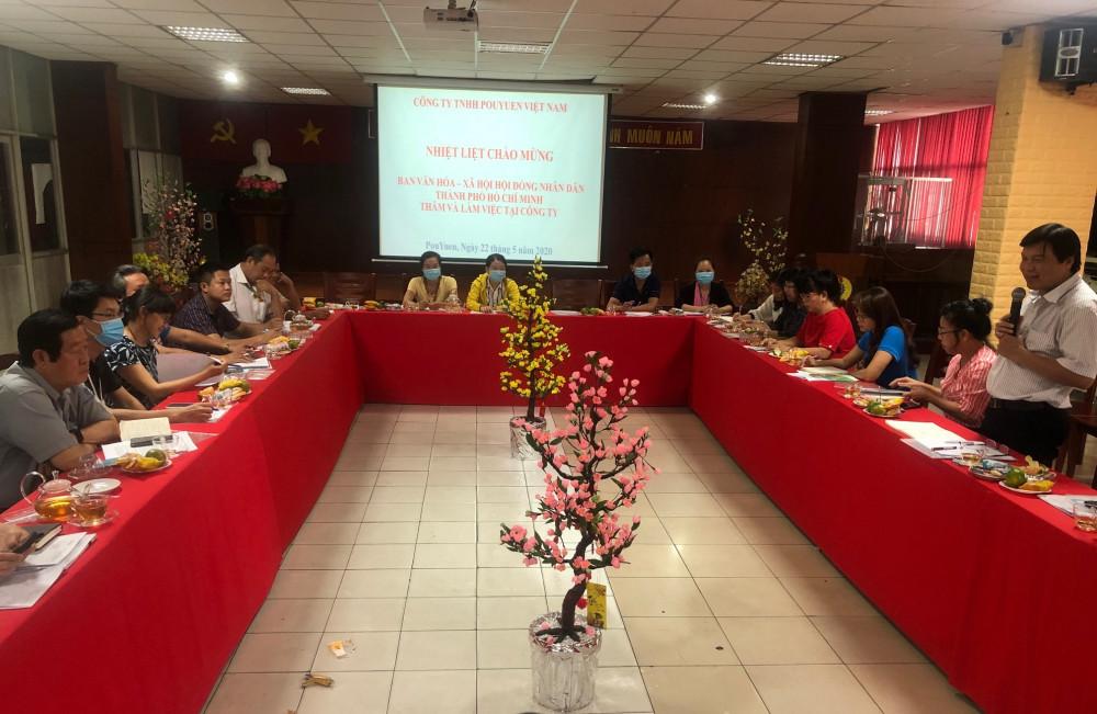 Buổi giám sát của Ban Văn hóa - Xã hội HĐND TPHCM tại Công ty TNHH Pouyuen Việt Nam. Ảnh: Quốc Ngọc