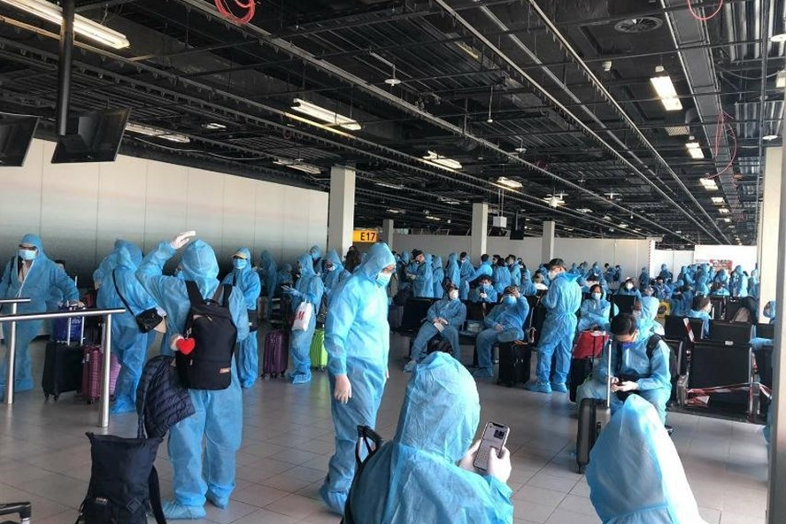 Các công dân Việt Nam làm thủ tục tại sân bay Hà Lan.
