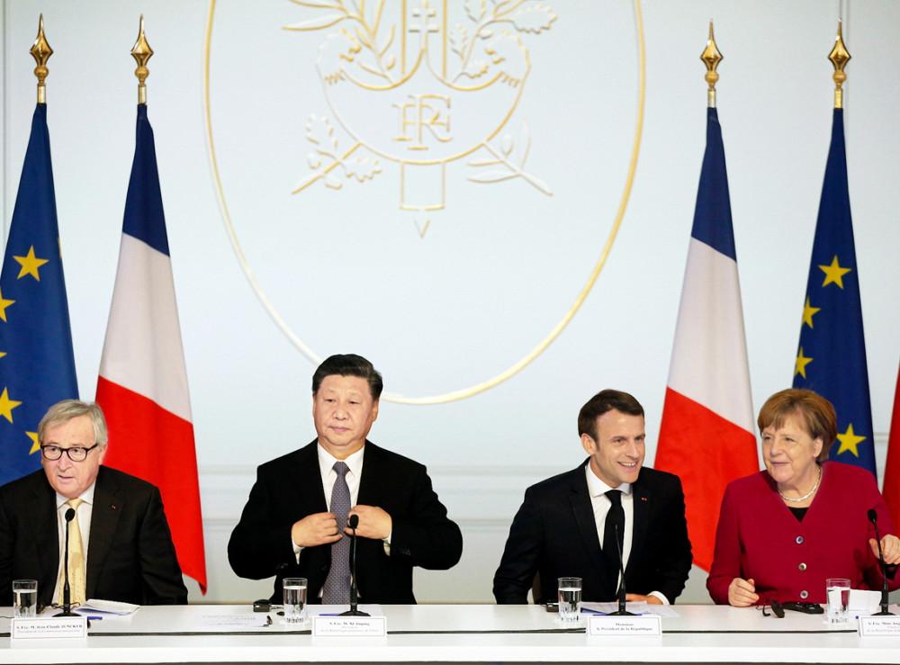 Chủ tịch Ủy ban châu Âu Jean-Claude Juncker, Chủ tịch Trung Quốc Tập Cận Bình,  Tổng thống Pháp Emmanuel Macron và Thủ tướng Đức Angela Merkel trong cuộc họp báo  tại Điện Elysée ở Paris, ngày 26/3/2019