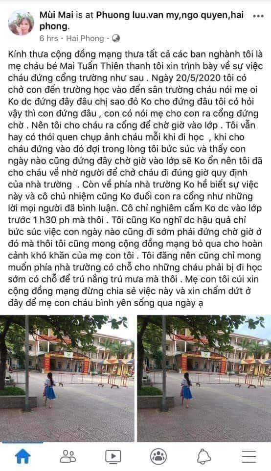 Phụ huynh của học sinh lớp 1 ở Hải Phòng lên tiếng vè sự việc và xin lỗi cộng đồng mạng