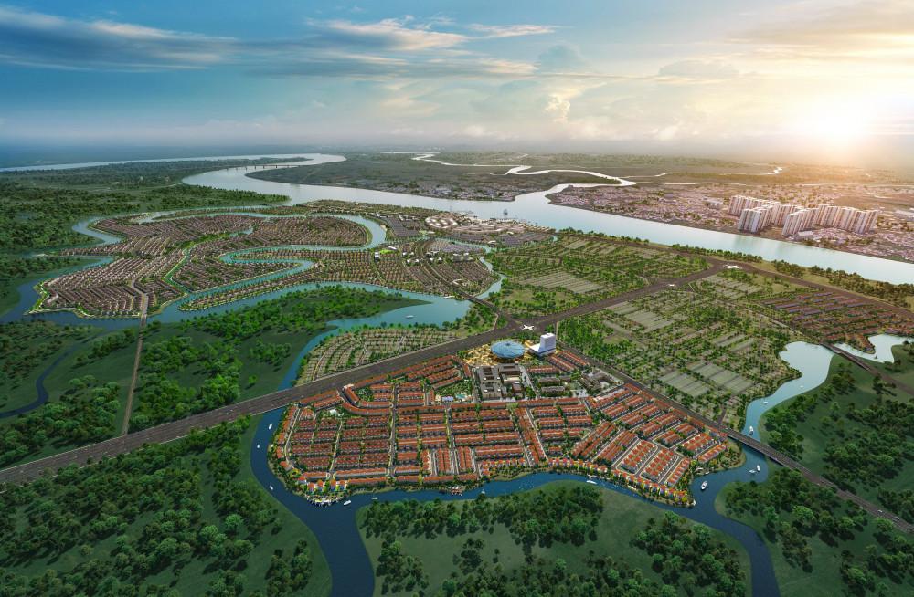 Aqua City được bao bọc bởi hệ thống sông tự nhiên với hơn 500ha cây xanh và mặt nước mang lại bầu không khi mát mẻ quanh năm