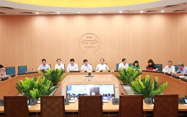 Toàn cảnh hội nghị trực tuyến của Hà Nội.