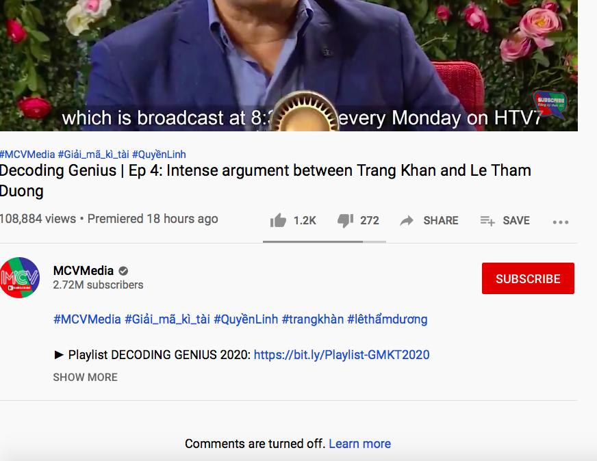 MCV khoá bình luận trên video của Trang Trần