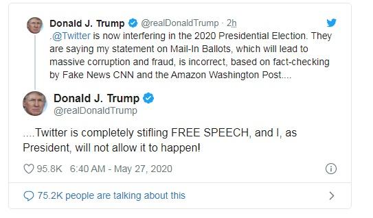 Tổng thống công kích Twitter trong các bài đăng sau đó.