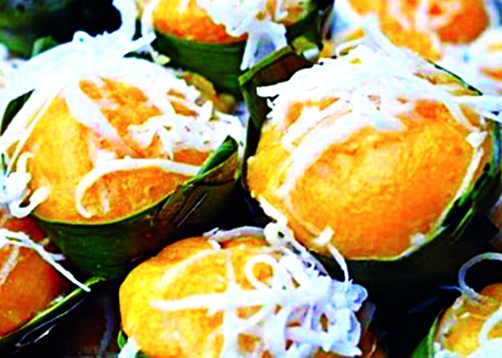 Bánh bò thốt nốt có màu vàng ươm  từ bột trái thốt nốt