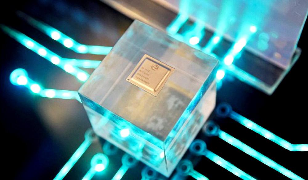 Mẫu chip do Công ty HiSilicon thiết kế, được trưng bày tại hội nghị đối tác của Huawei tại tỉnh Phúc Kiến, Trung Quốc ngày 21/3/2019 - Ảnh: Reuters