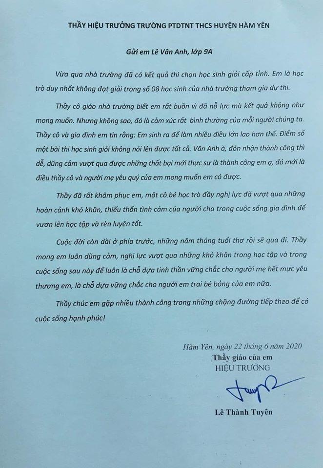 Bức thư đầy xúc động của hiệu trưởng gửi học trò trượt kỳ thi học sinh giỏi