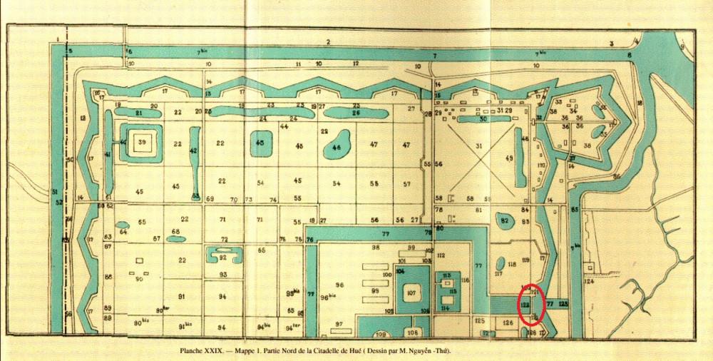 Bản đồ Planche XXIX- Mappe 1. Partie Nord de la Citadelle de Hué (dessin par M.Nguyễn Thứ (trích ở BAVH 1933)