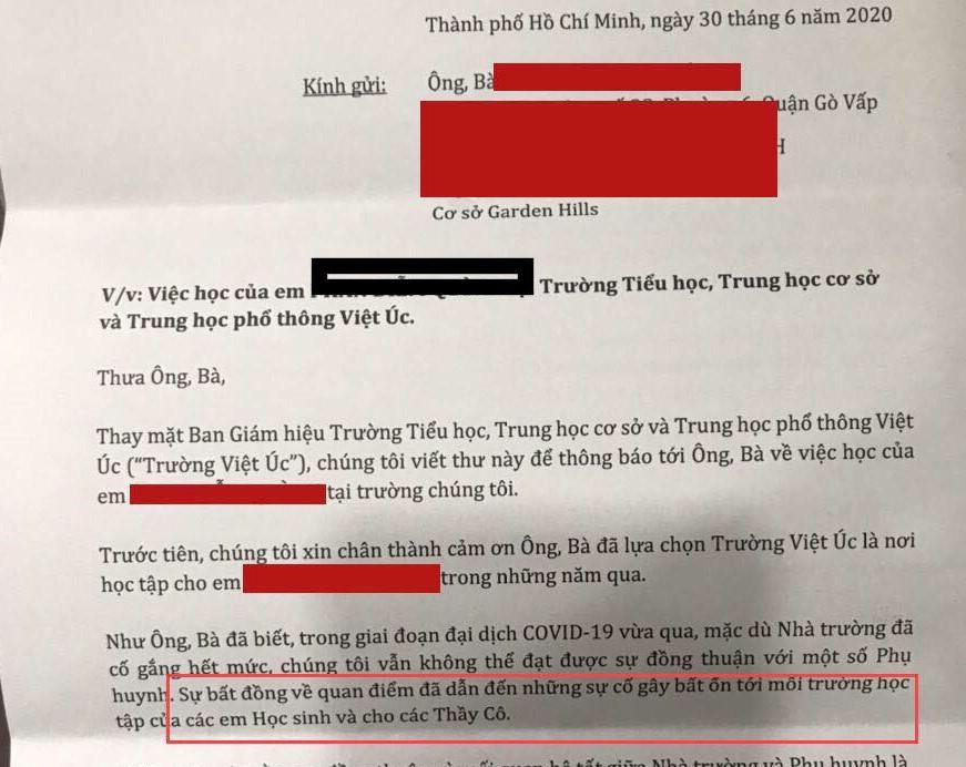 Phụ huynh sốc khi nhận được thư của Trường quốc tế Việt Úc từ chối nhận học sinh cũ