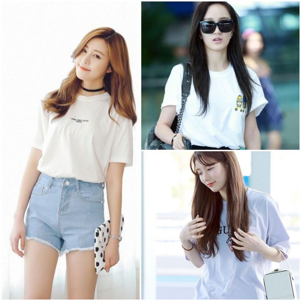 Nhiều thần tượng Kpop lựa chọn áo phông trơn, ít họa tiết kết hợp cùng quần đùi tăng phần cá tính, phái đẹp lưu ý sắm thêm cho mình kinh mát, giày bata khi đi chơi, dạo phố cùng bạn bè.