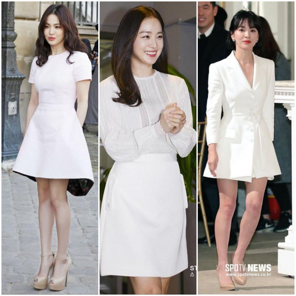 Váy trắng tinh khôi mang đến sự tươi mát giữa không khí ngày hè. Tông màu này thường xuyên được các nữ nghệ sĩ xứ Hàn lựa chọn giúp khuôn mặt của bạn sáng hơn nhờ hiệu ứng phản xạ.
