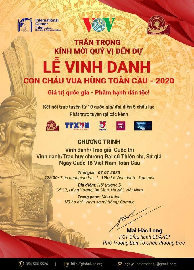 Lễ vinh danh con cháu vua Hùng toàn cầu 2020 sẽ diễn ra vào lúc 19 giờ ngày 7/7