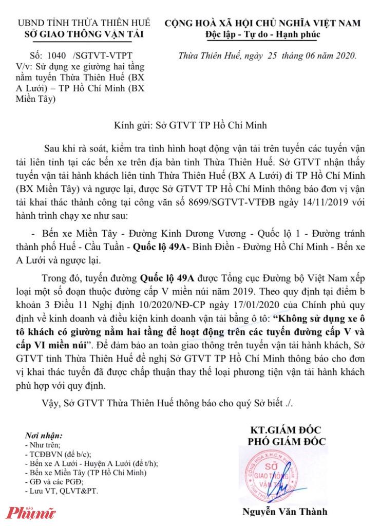 Sở GTVT Thừa Thiên Huế đã có công văn số 1040/SGTVT-VTPT gửi Sở GTVT TP.HCM thông báo nhà xe Minh Phương thay thế loại phương tiện vận tải phù hợp