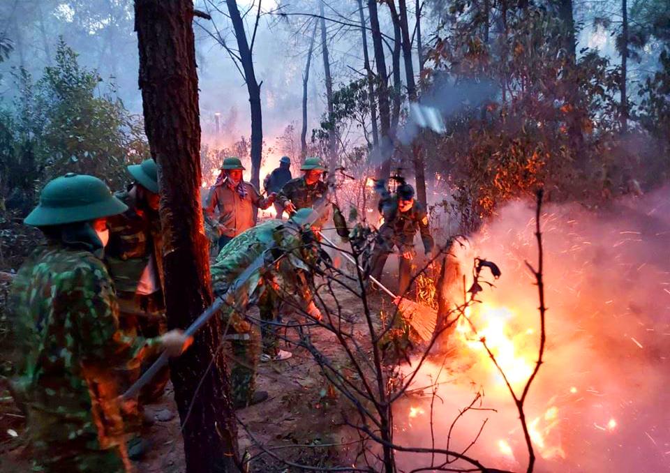 Hơn 1.000 người tham gia dập lửa cứu rừng