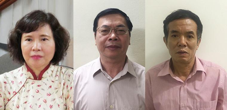 Ba bị can vừa bị khởi tố từ trái qua phải: Hồ Thị Kim Thoa, Vũ Huy Hoàng, Phan Chí Dũng.