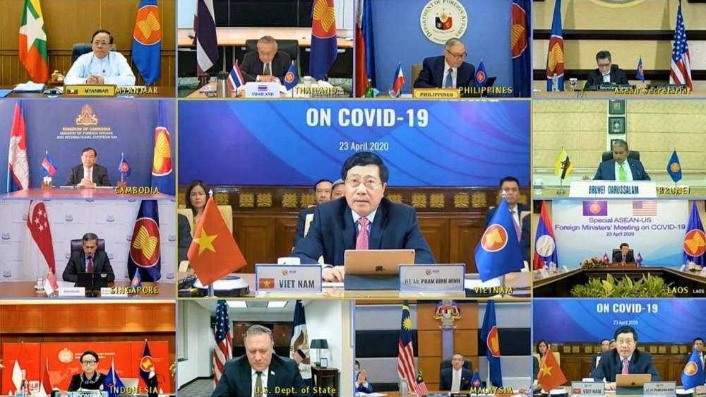 Hội nghị trực tuyến Đặc biệt các Bộ trưởng Ngoại giao ASEAN-Mỹ về ứng phó đại dịch COVID-19 diễn ra sáng 23/4/2020.