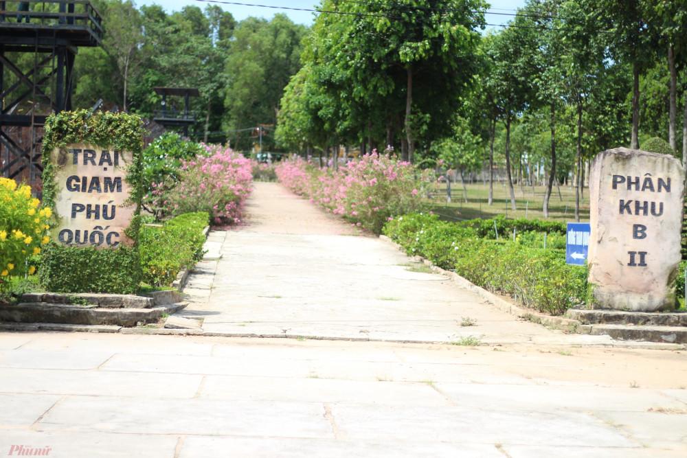 Con đường dẫn vào 14 khu trại giam được phủ màu xanh mướt của cây cối.