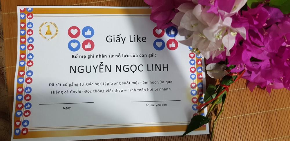 Nội dung ghi trong giấy Like rất mộc mạc dễ thương. Ảnh từ Facebook Nguyễn Nam